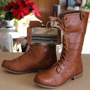 Charlotte Russe Foldover Tribal Aztec Combat Boots